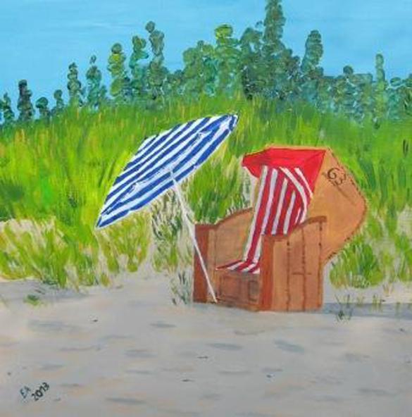Standkorb mit Sonnenschirm