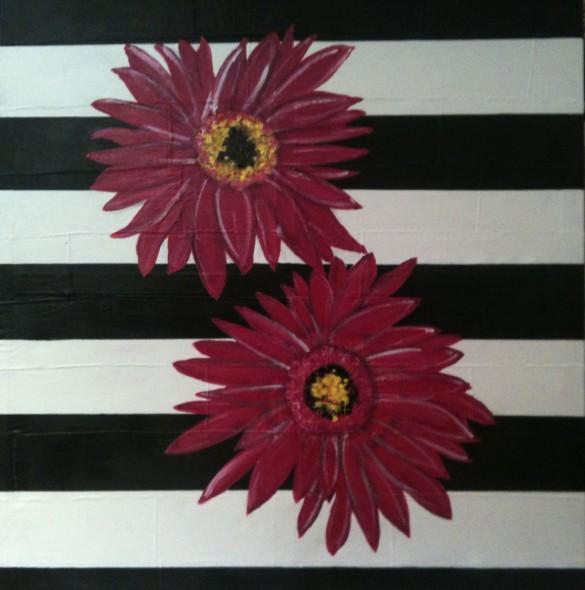 Blüten in Magenta auf SW